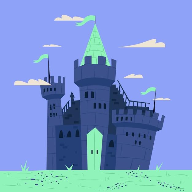 Illustration De Château De Conte De Fées Vecteur gratuit