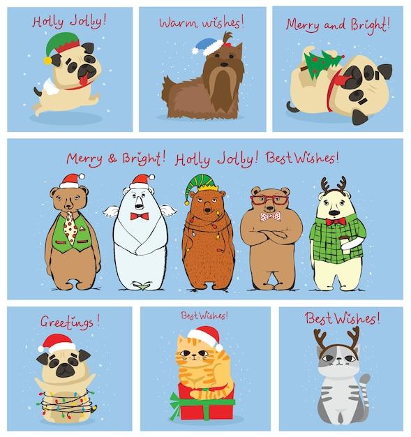 Illustration De Chats, De Porcs, De Rats Et De Chiens De Noël Avec Des Salutations De Noël Et Du Nouvel An. Vecteur Premium
