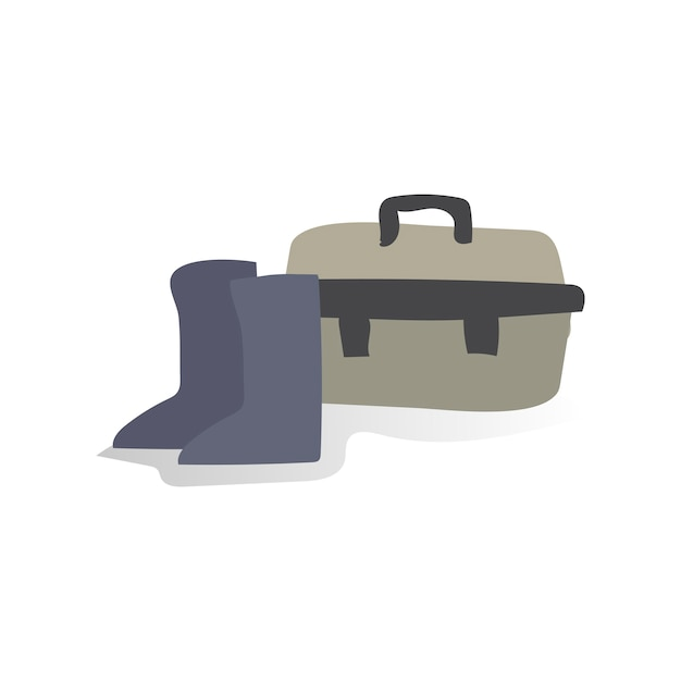 Illustration de chaussures et de boîte à outils Vecteur gratuit