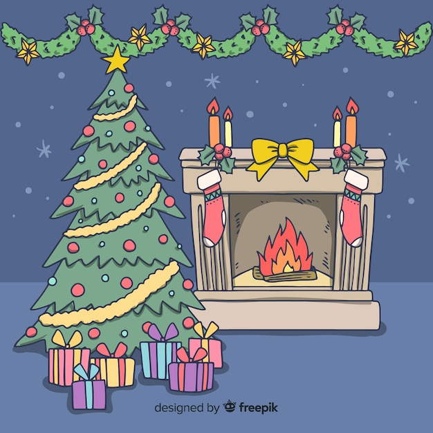 Illustration de cheminée dessiné à la main Vecteur gratuit