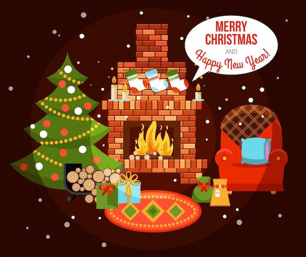 Illustration de cheminée de vacances de noël Vecteur gratuit