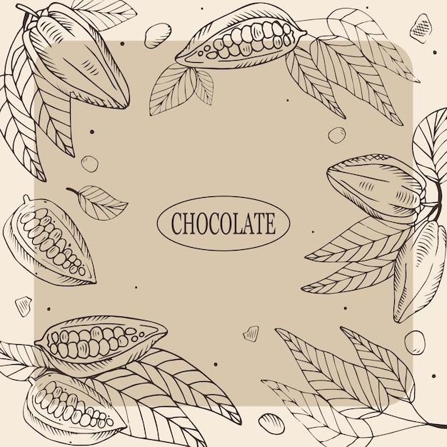 Illustration De Chocolat Avec Des Fèves De Cacao Vecteur Premium