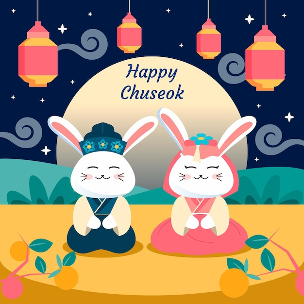Illustration De Chuseok Plat Avec Salutation Vecteur Premium