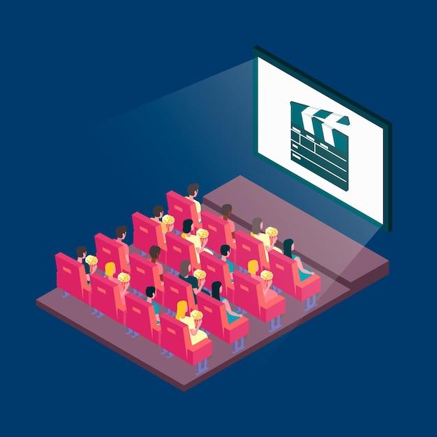 Illustration De Cinéma Isométrique Avec Des Spectateurs Vecteur gratuit