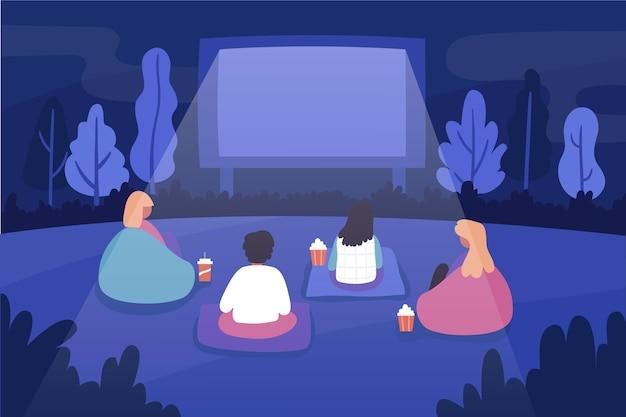 Illustration De Cinéma En Plein Air Vecteur gratuit