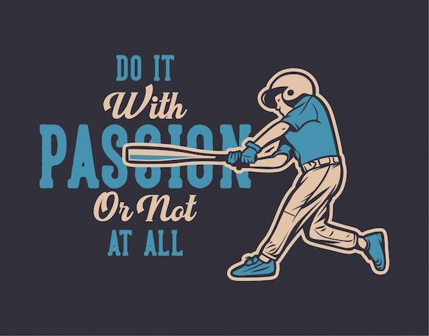Illustration de citation de baseball Vecteur Premium