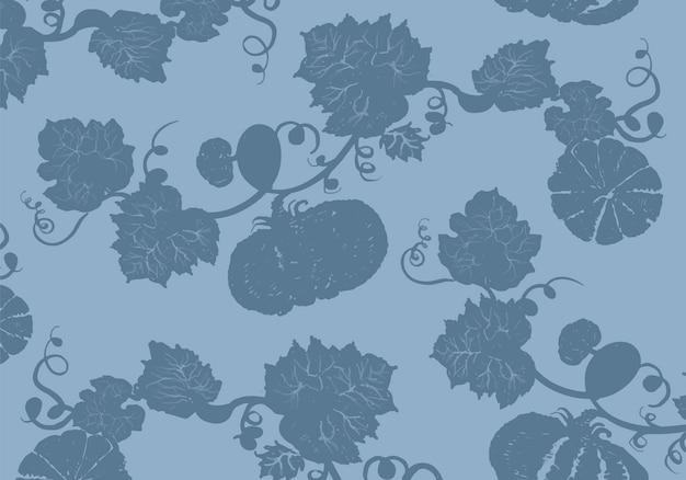 Illustration De Citrouilles Sur Fond Bleu Vecteur gratuit