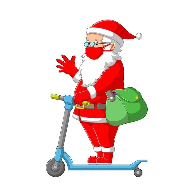 L'illustration De La Clause Du Père Noël En Utilisant Le Costume Rouge Et Tenant Le Sac Vert Avec Le Scooter Vecteur Premium