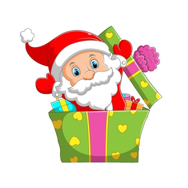 L'illustration De La Clause Mini Santa Utilisant Le Chapeau De Noël Surgissant De La Jolie Grande Boîte De Cadeaux Vecteur Premium