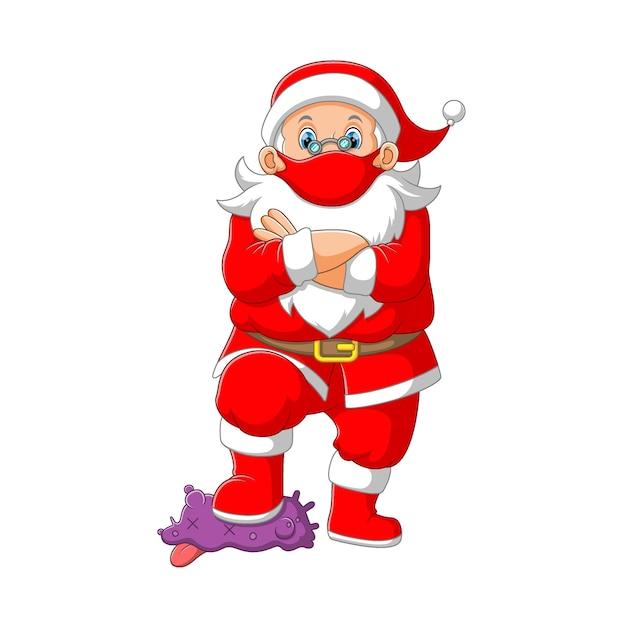 L'illustration De La Clause Santa Utilisant Le Masque Rouge Et Marchant Sur Le Virus Corona Violet Vecteur Premium