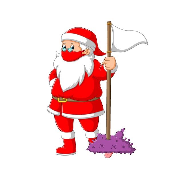 L'illustration De La Clause Santa Utilisant Le Masque Rouge Tenant Le Drapeau Blanc Pour Tuer Le Virus Corona Vecteur Premium