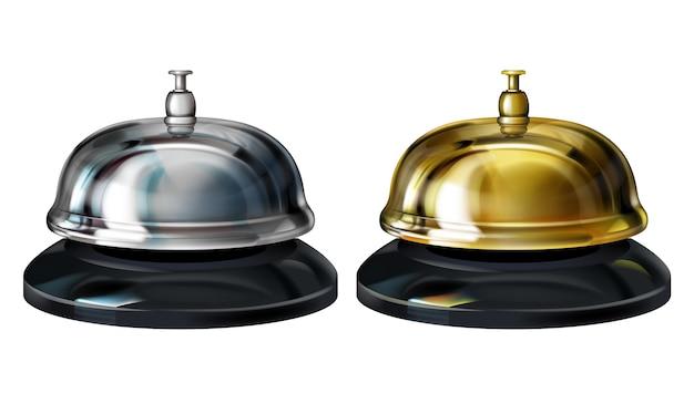 Illustration de cloches de service représentant un service de conciergerie 3d réaliste en hôtel ou une réception en or Vecteur gratuit