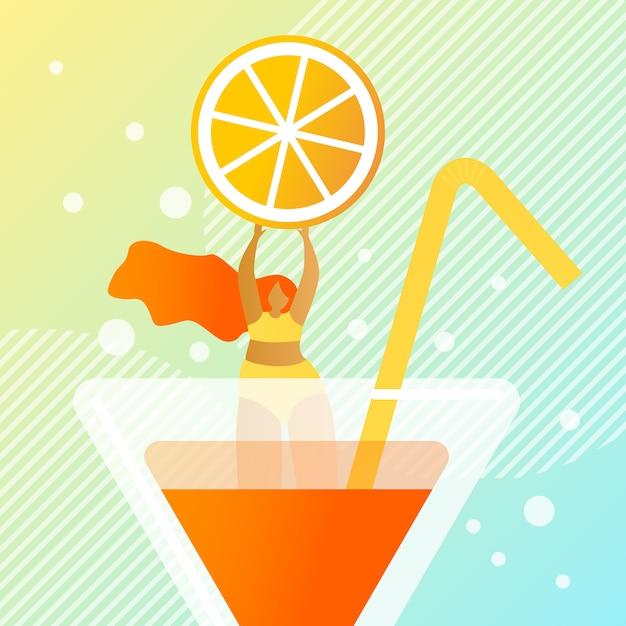 Illustration de cocktail d'été juteuse fraîche. Vecteur Premium
