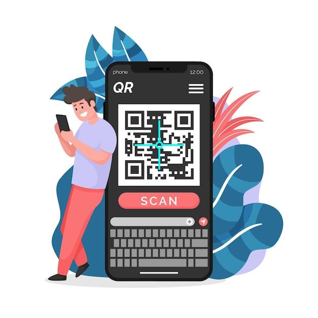 Illustration De Code Qr De Numérisation De Smartphone Vecteur gratuit