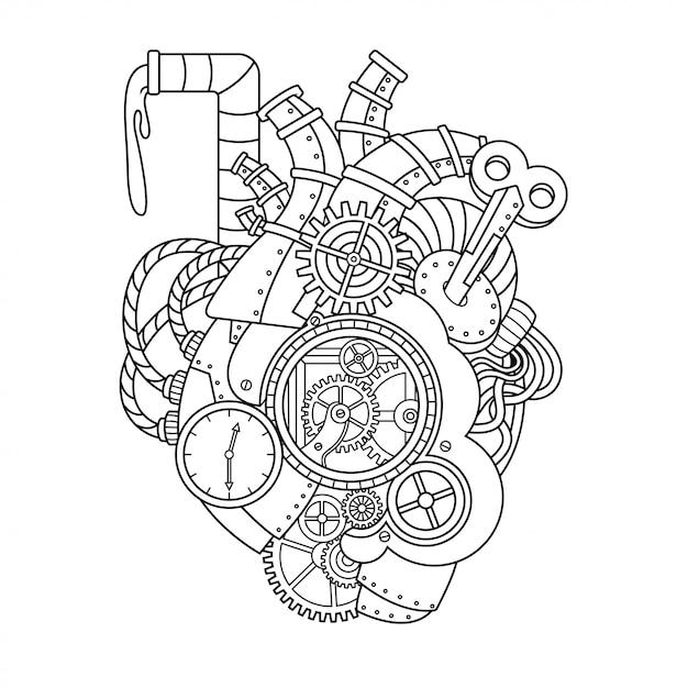 Illustration De Coeur Steampunk Vecteur Premium