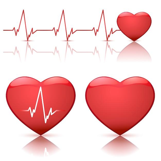 Illustration Des Coeurs Avec Battement De Coeur Vecteur Premium