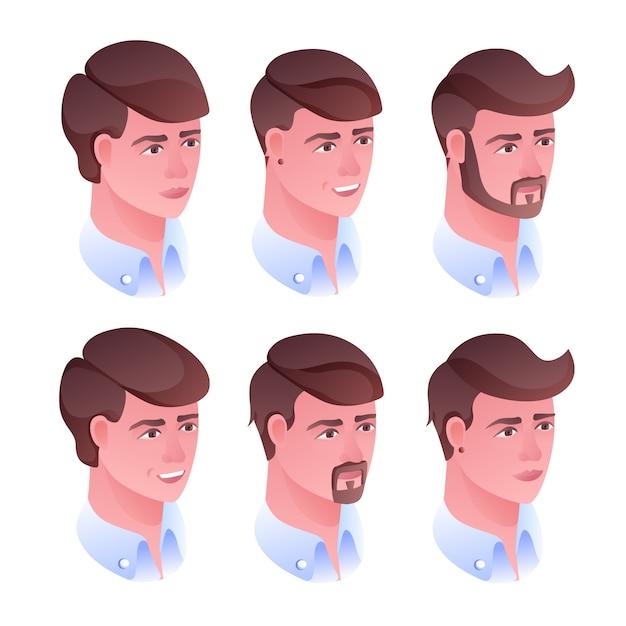 Illustration de coiffure tête homme pour salon de coiffure ou salon de coiffure. Vecteur gratuit