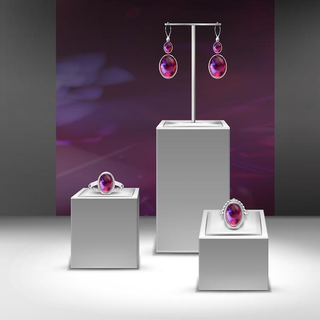 Illustration De La Collection De Bijoux Avec Des Gemmes Rouges En Affichage Vecteur Premium