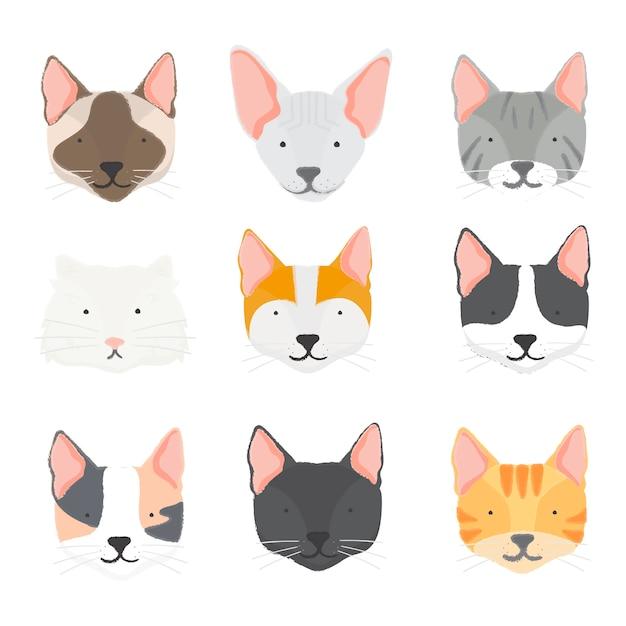 Illustration de la collection de chats Vecteur gratuit