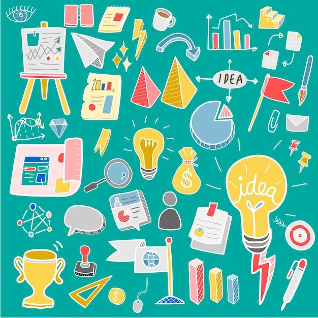 Illustration De La Collection De Création D'entreprise Doodle Vecteur gratuit