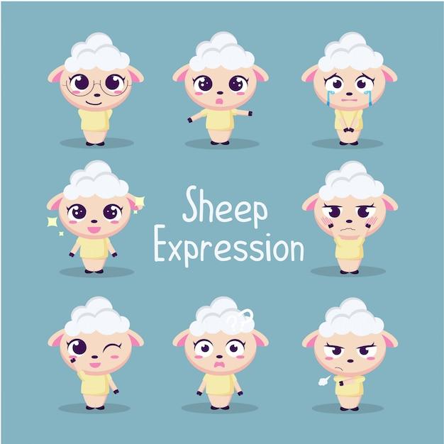 Illustration de collection de moutons mignon Vecteur Premium