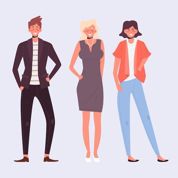 Illustration De Collection De Personnes Confiantes Vecteur gratuit