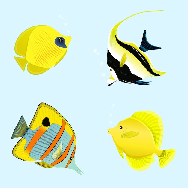 Illustration De La Collection De Poissons Tropicaux Vecteur Premium