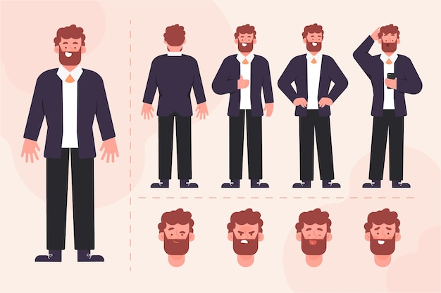 Illustration De La Collection De Poses De Personnage Masculin Vecteur gratuit