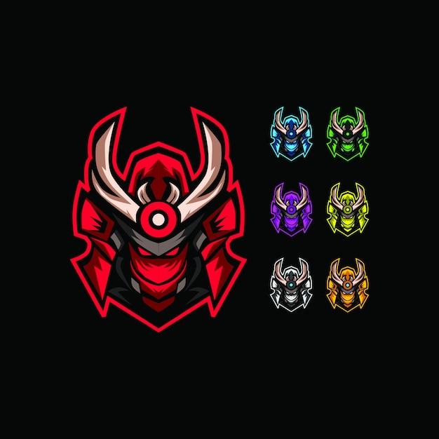 Illustration de la collection de la tête robotique samurai Vecteur Premium