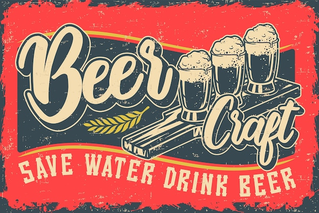 Illustration Colorée Avec Bière Et Inscription. Tous Les éléments Sont Dans Un Groupe Distinct. Vecteur Premium