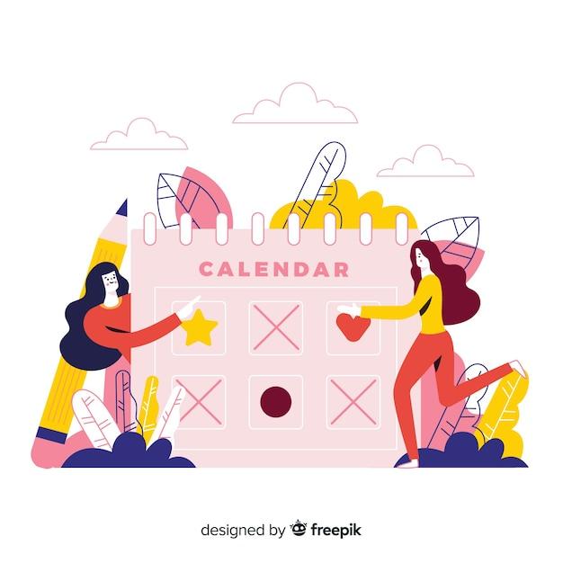 Illustration colorée avec calendrier et personnes Vecteur gratuit