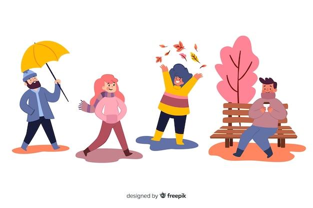 Illustration colorée avec un design automne Vecteur gratuit
