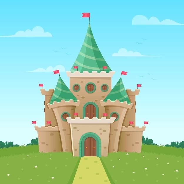 Illustration Colorée Du Château De Conte De Fées Vecteur gratuit