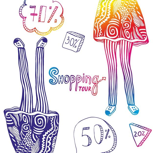 Illustration Colorée Avec Des éléments De Vente Et Des Jambes De Femme Dans Les Ornements De Mode Doodle. Fond De Voyage De Vecteur Vecteur Premium