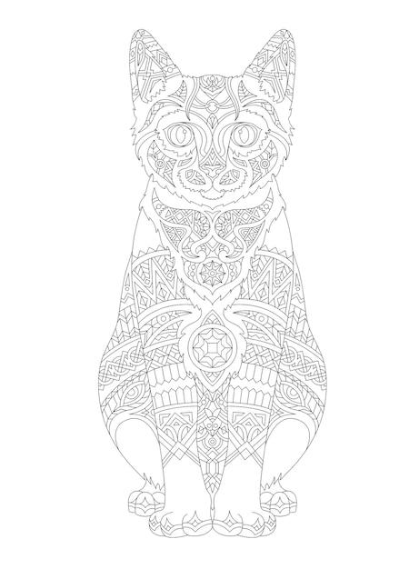 Illustration De Coloriage Animal Adulte Vecteur gratuit