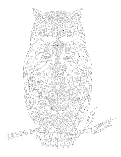 Illustration De Coloriage Animal Adulte Vecteur gratuit