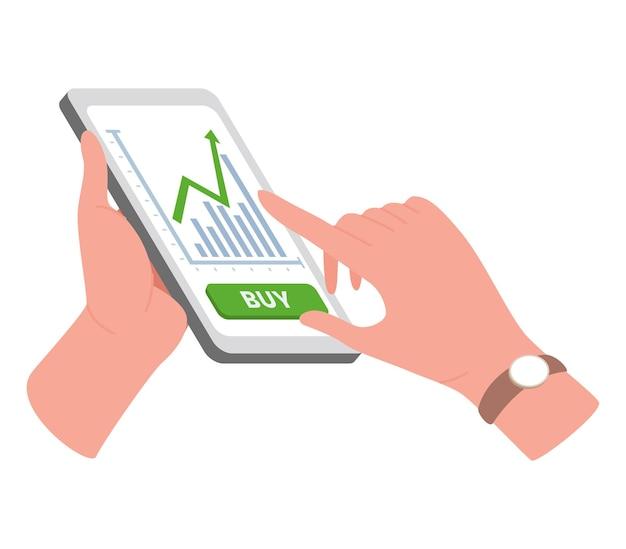 Illustration De Commerce Internet Avec Les Mains Et Le Téléphone Vecteur Premium