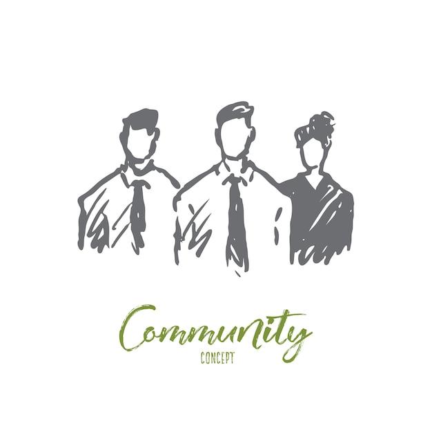 Illustration De La Communauté Dessinée à La Main Vecteur Premium