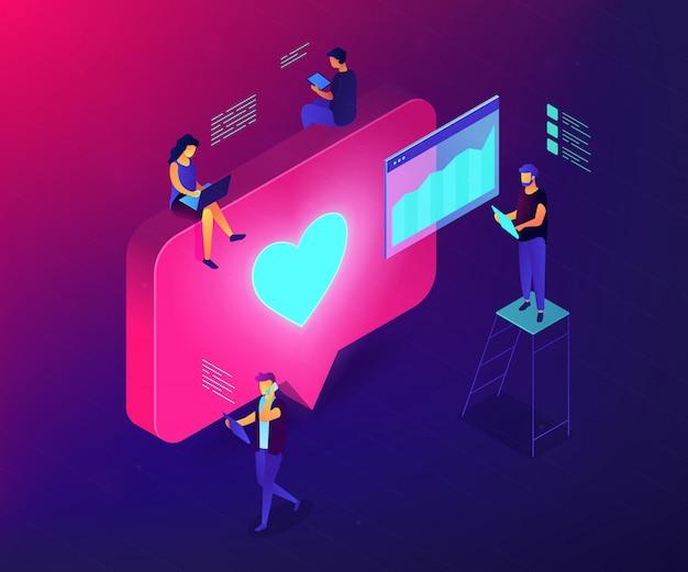 Illustration De Concept 3d Isométrique D'engagement Des Médias Sociaux. Vecteur Premium