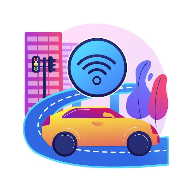 Illustration De Concept Abstrait De Construction De Routes Intelligentes. Technologie Des Routes Intelligentes, Transport Urbain Iot, Mobilité Dans L'arène Urbaine, Intégration Des Technologies Dans L'autoroute. Vecteur gratuit