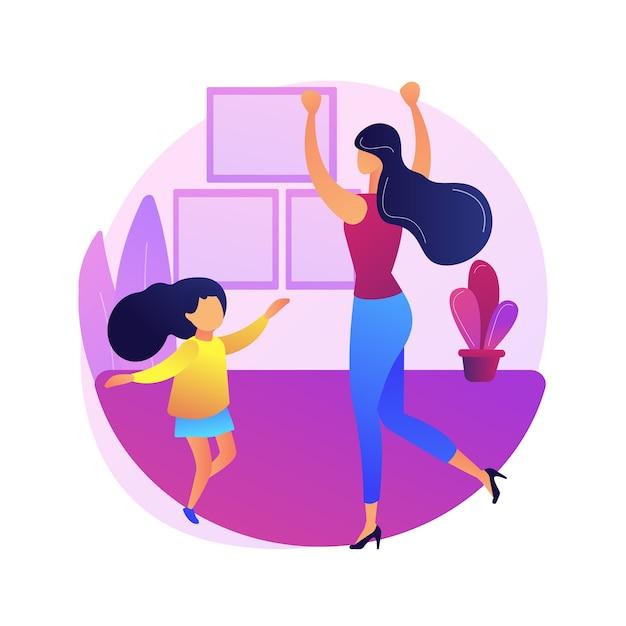 Illustration De Concept Abstrait De Cours De Danse à La Maison. Plateforme De Formation à La Quarantaine De Danse à Domicile, Cours En Ligne, Soulagement Du Stress, Diffusion En Direct, Rester à La Maison, Distance Sociale. Vecteur gratuit