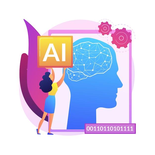 Illustration De Concept Abstrait D'intelligence Artificielle. Ia, Apprentissage Automatique, évolution De L'intelligence Artificielle, Haute Technologie, Technologie De Pointe, Robotique Cognitive. Vecteur gratuit