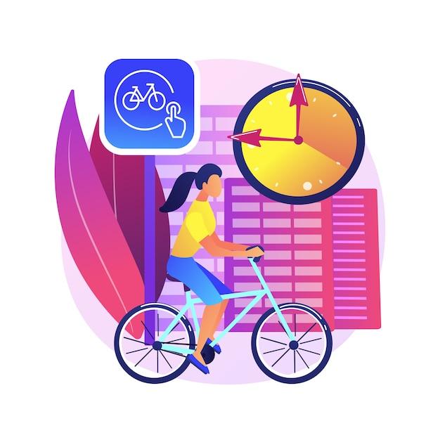 Illustration De Concept Abstrait De Partage De Vélo. Location De Vélos Publics, Application De Partage De Vélos, Transport Urbain Vert, Réservation De Balade En Ligne, Transport Urbain écologique. Vecteur gratuit