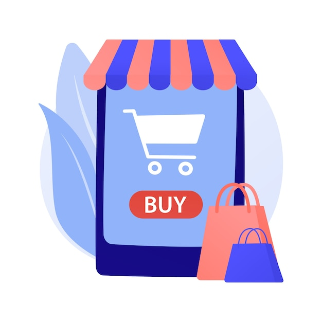 Illustration De Concept Abstrait Shopping En Ligne Vecteur gratuit