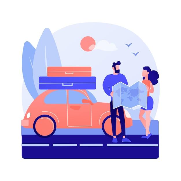 Illustration De Concept Abstrait De Voyage Sur La Route Vecteur gratuit