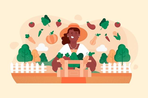 Illustration De Concept D'agriculture Biologique Femme Vecteur gratuit