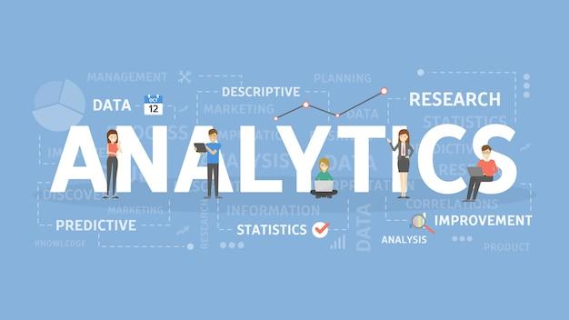Illustration De Concept Analytique. Idée D'analyse, De Données Et D'informations. Vecteur Premium