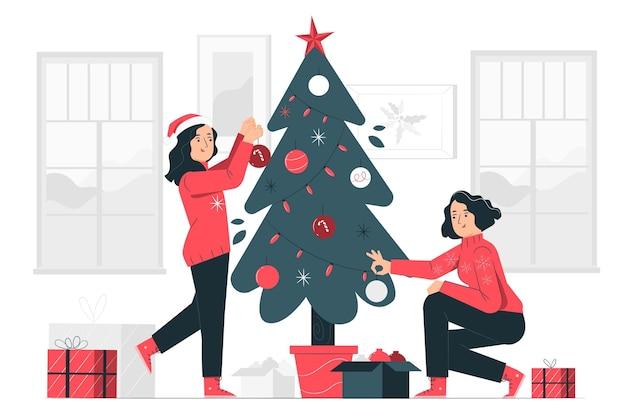 Illustration De Concept D'arbre De Noël Vecteur gratuit
