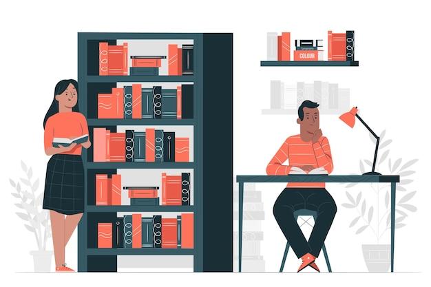 Illustration De Concept De Bibliothèque Vecteur gratuit