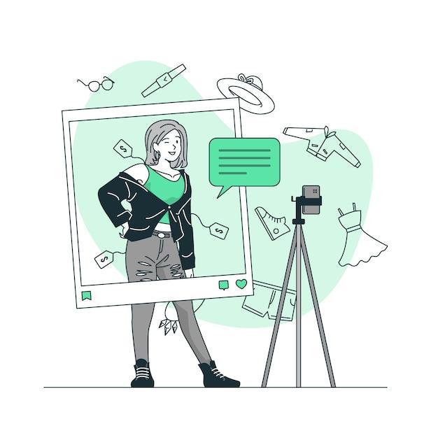 Illustration De Concept De Blog De Mode Vecteur gratuit